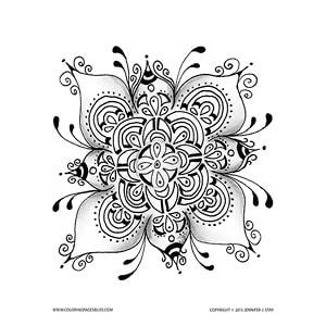 Flower Mandela Coloring page set 2